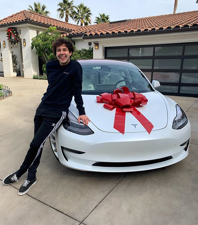 David Dobrik with his new Tesla car